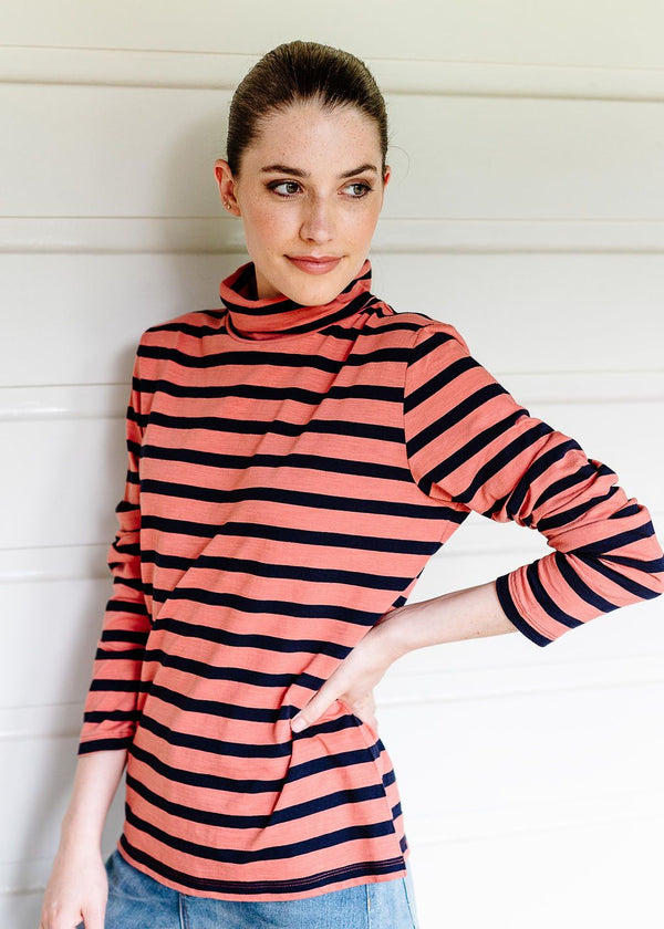 Navy / Terracotta 100% Cotton Stripe Long Sleeve Skivvy