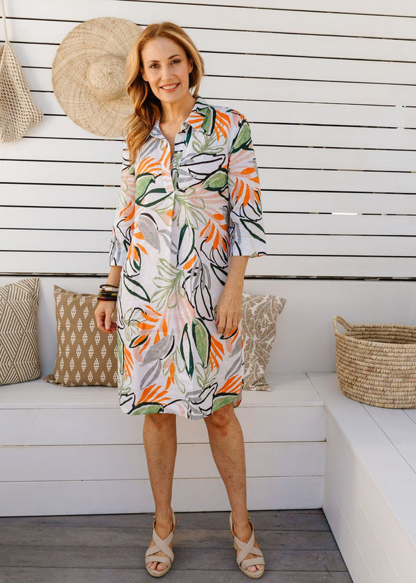 Abstract Leaf Print 100% Linen Shirtmaker Dress
