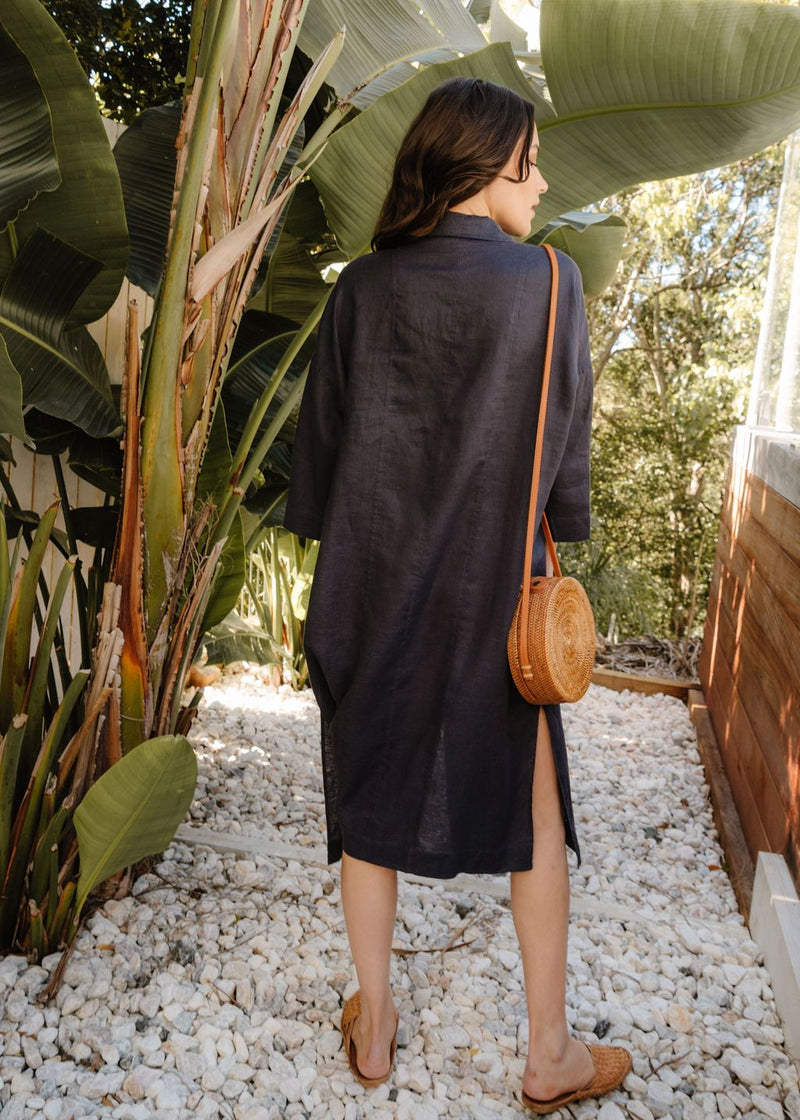 Navy 100% Linen Shirtmaker Dress