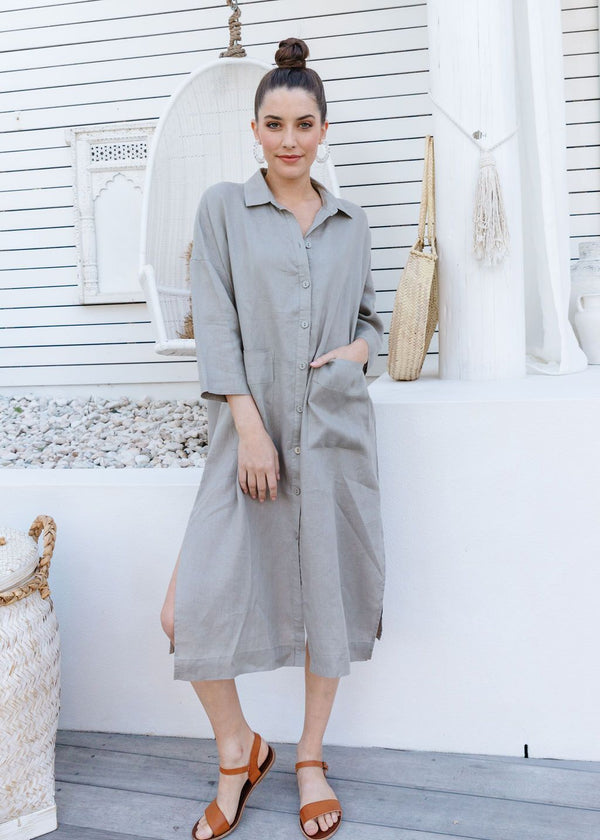 Sage 100% Linen Shirtmaker Dress