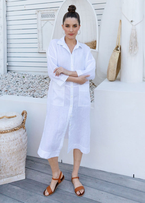 White 100% Linen Shirtmaker Dress