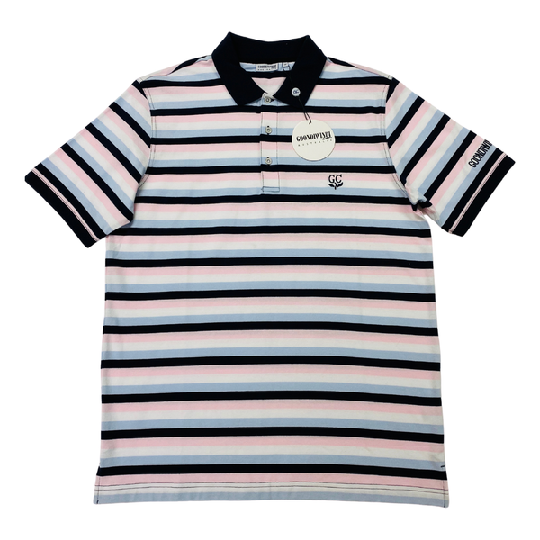 Navy / Pale Pink / Blue 100% Cotton Mens Polo