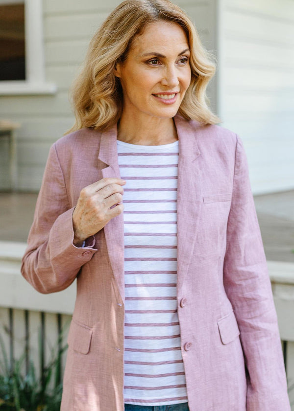 Dusty Pink 100% Linen Classic Single Breasted Blazer
