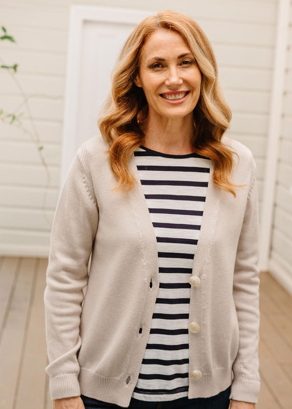 Oatmeal 95% Cotton 5% Cashmere Cardigan