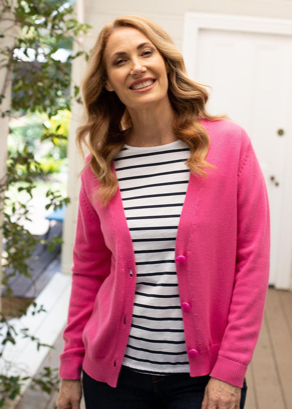 Pink Shock 95% Cotton 5% Cashmere Cardigan