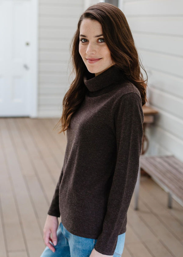 Coffee 55% Merino 45% Cotton Roll Neck Jumper