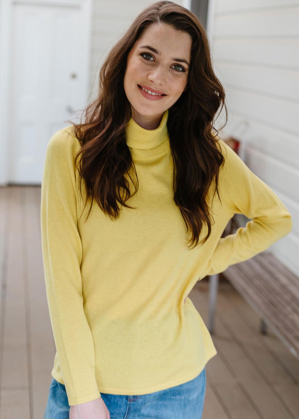 Gold 55% Merino 45% Cotton Roll Neck Jumper