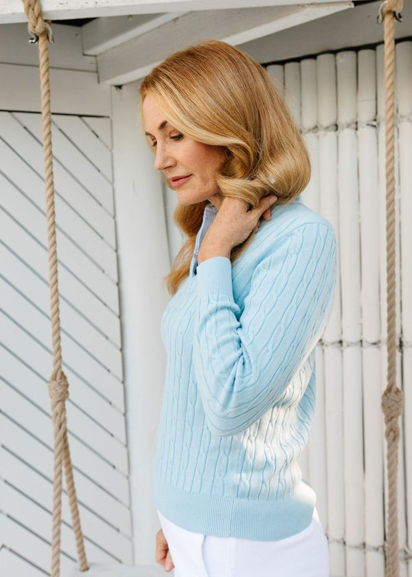 Pale Blue 100% Cotton Cable Jumper with Woven Collar