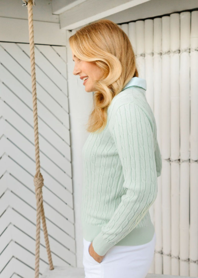 Mint 100% Cotton Cable Jumper with Woven Collar
