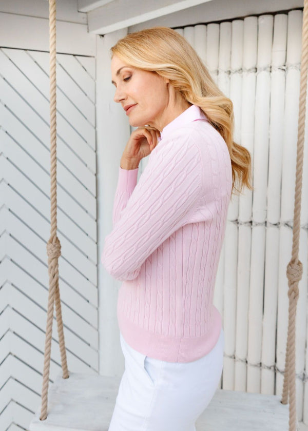 Pale Pink 100% Cotton Cable Jumper with Woven Collar