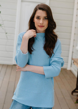 55% Merino 45% Cotton Rib Knit Jumper Cloud Blue
