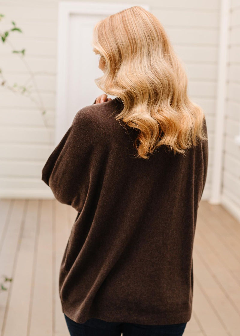 Coffee 55% Merino 45% Cotton Relaxed Roll Neck Jumper