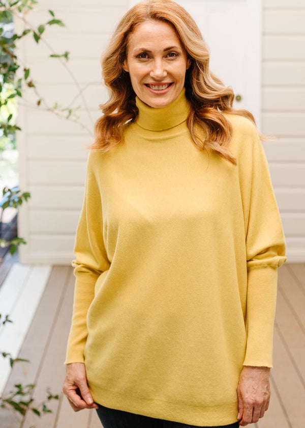 Gold 55% Merino 45% Cotton Relaxed Roll Neck Jumper