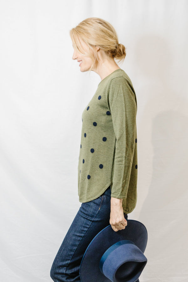 Fen / Navy 55% Merino 45% Cotton Spot Jumper