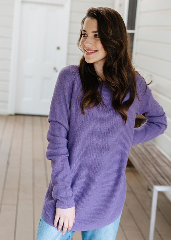 Heather Smoke 55% Merino 45% Cotton Crew Neck Jumper