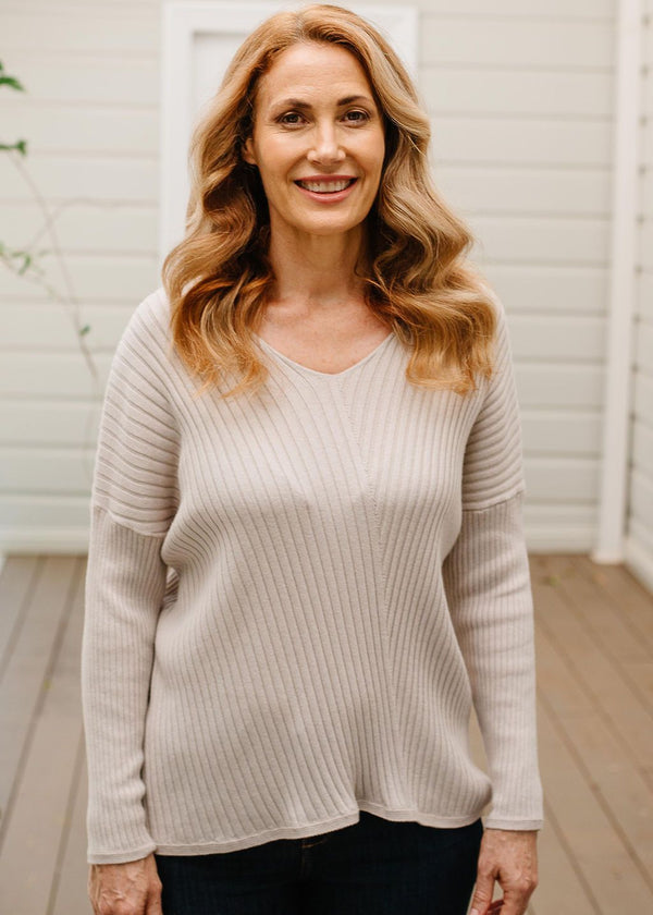 Oatmeal 95% Cotton 5% Cashmere V Neck Rib Knit Jumper