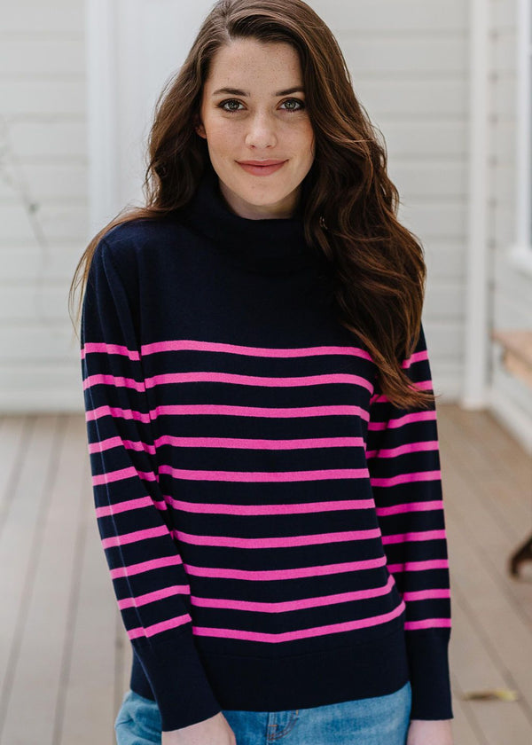 Navy / Pink 95% Cotton 5% Cashmere Stripe Roll Neck Skivvy