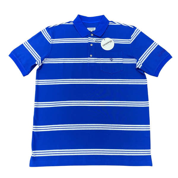 Royal Blue White 100% Cotton Striped Mens Polo with Pocket
