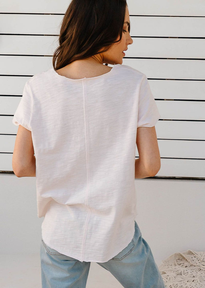 Pale Pink 100% Cotton Tee Shirt with Centre Seams