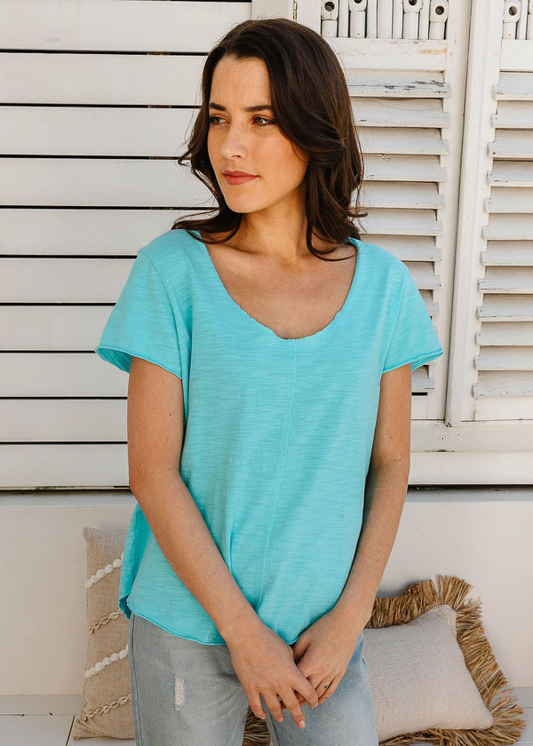 Turquoise 100% Cotton Tee Shirt with Centre Seams