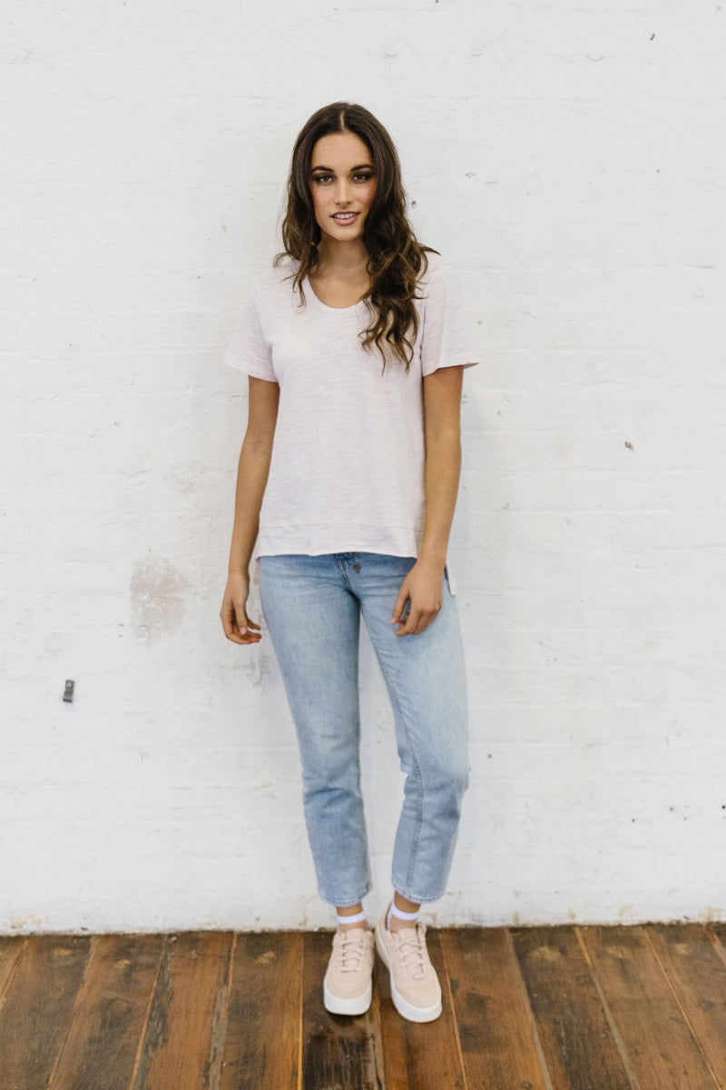 Pale Pink 100% Cotton Classic Tee Shirt