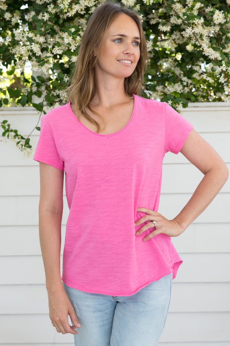Rose Pink 100% Cotton V Neck Tee Shirt