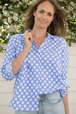Jacaranda 55% Linen 45% Cotton Spot Shirt