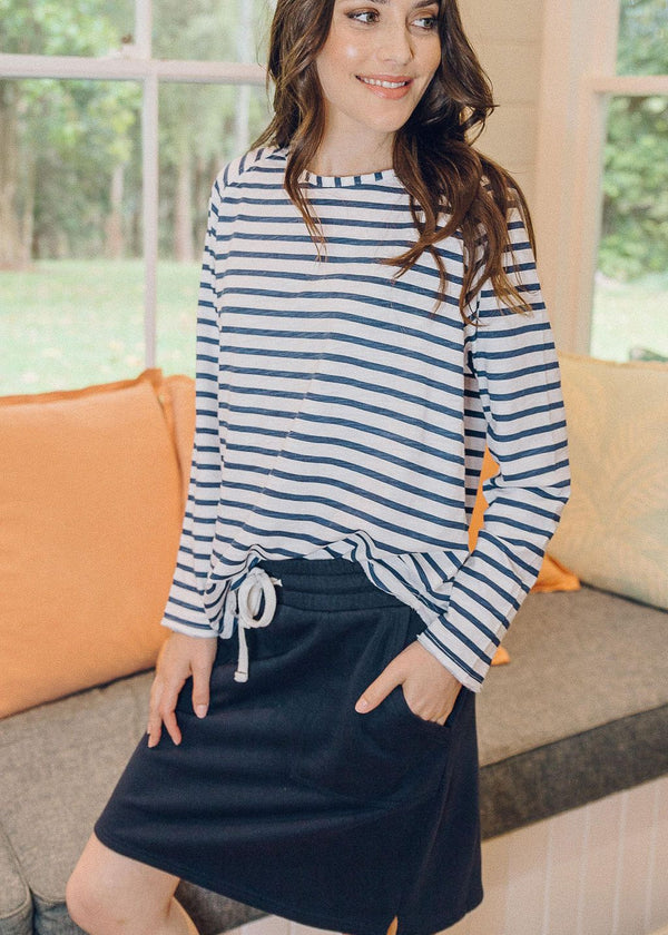 Navy 100% Cotton Knee Length Skirt