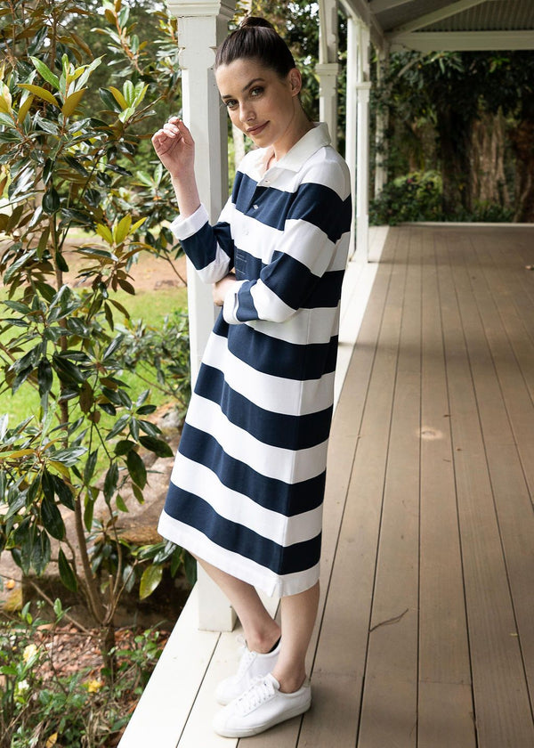 Navy / White 100% Cotton Stripe Rugby Dress