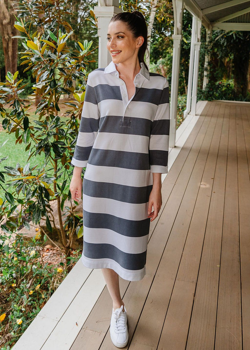 Slate / White 100% Cotton Stripe Rugby Dress