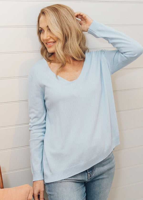 55% Merino 45% Cotton V Neck Knit Jumper Cloud Blue