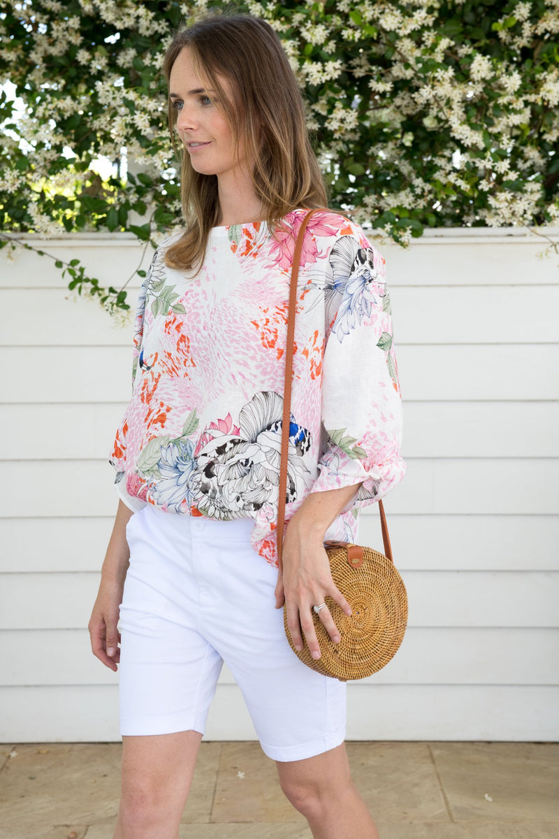 Soft Floral Print 100% Linen 3/4 Sleeve Top With Ties