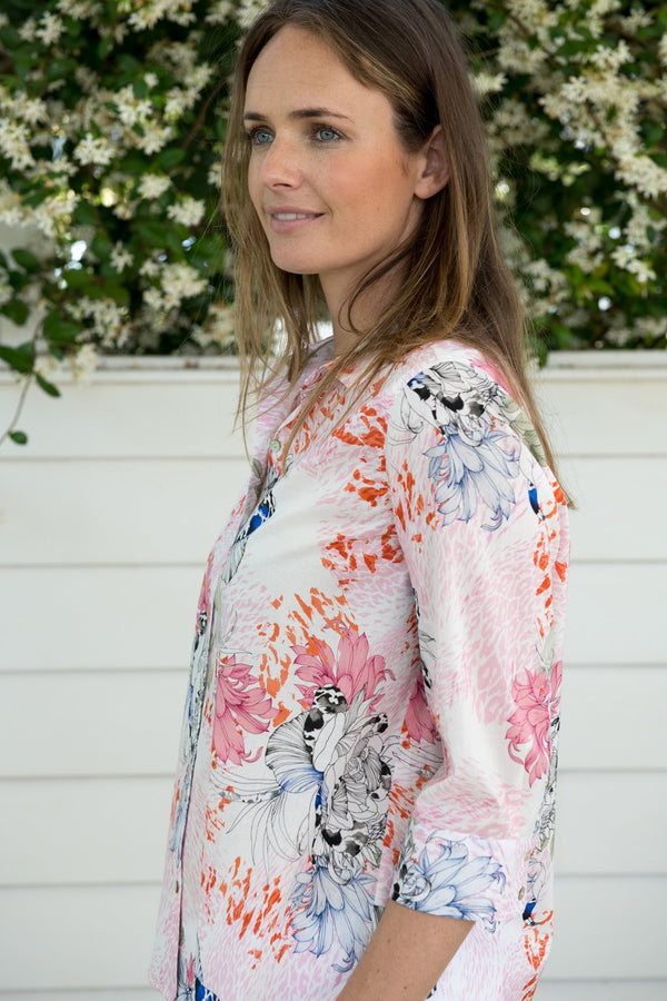 Soft Floral Print 100% Cotton 3/4 Sleeve Shirt
