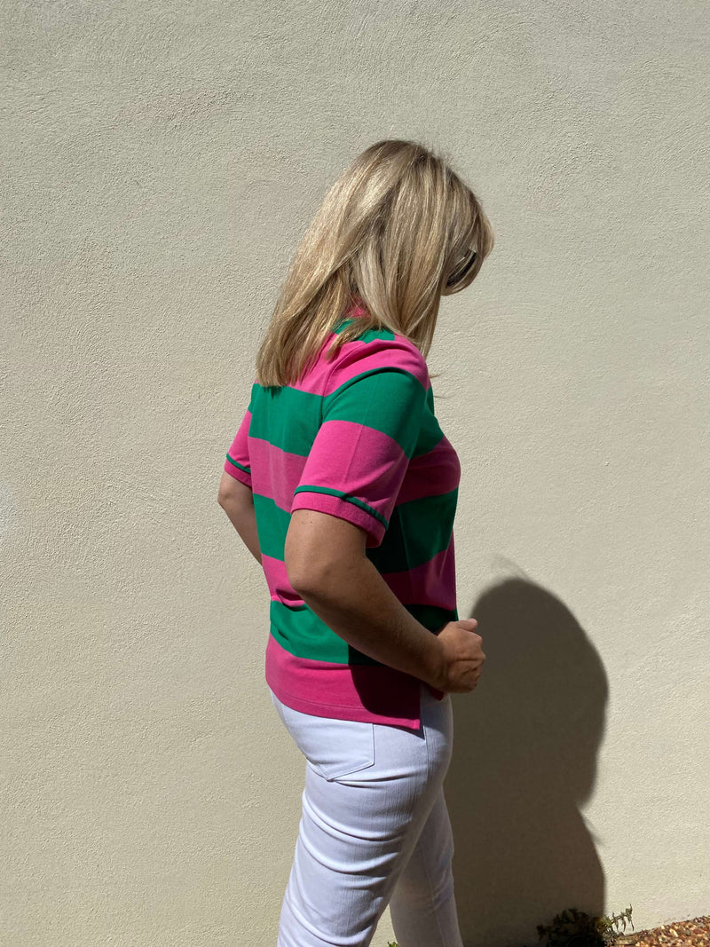Bright Pink / Emerald 100% Cotton Pique Striped Classic Polo