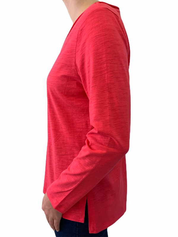 Berry 100% Cotton Slub V Neck Long Sleeve Tee Shirt