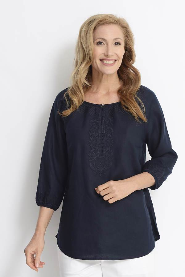 Navy 100% Linen Embroidered Detail Top