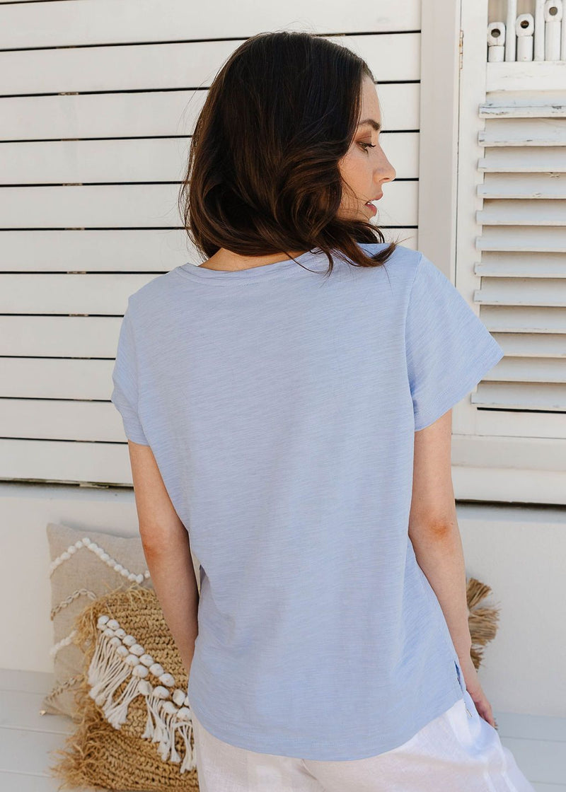 Jacaranda 100% Cotton V Neck Tee Shirt with Pocket