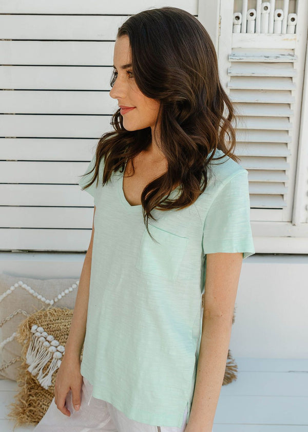 Mint 100% Cotton V Neck Tee Shirt with Pocket