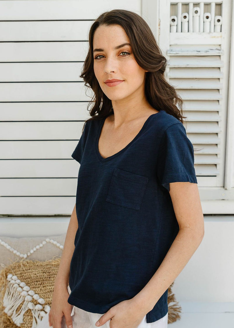 Navy 100% Cotton V Neck Tee Shirt with Pocket