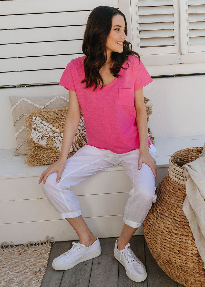 Rose Pink 100% Cotton V Neck Tee Shirt with Pocket