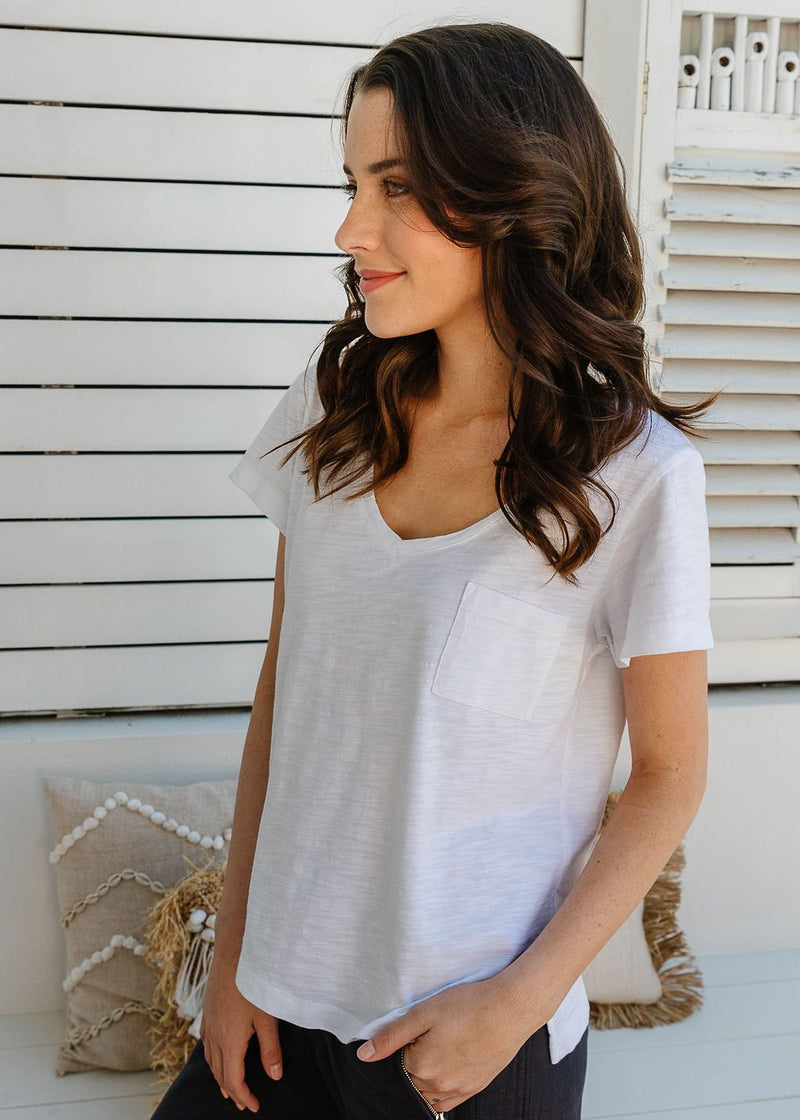 White 100% Cotton V Neck Tee Shirt with Pocket