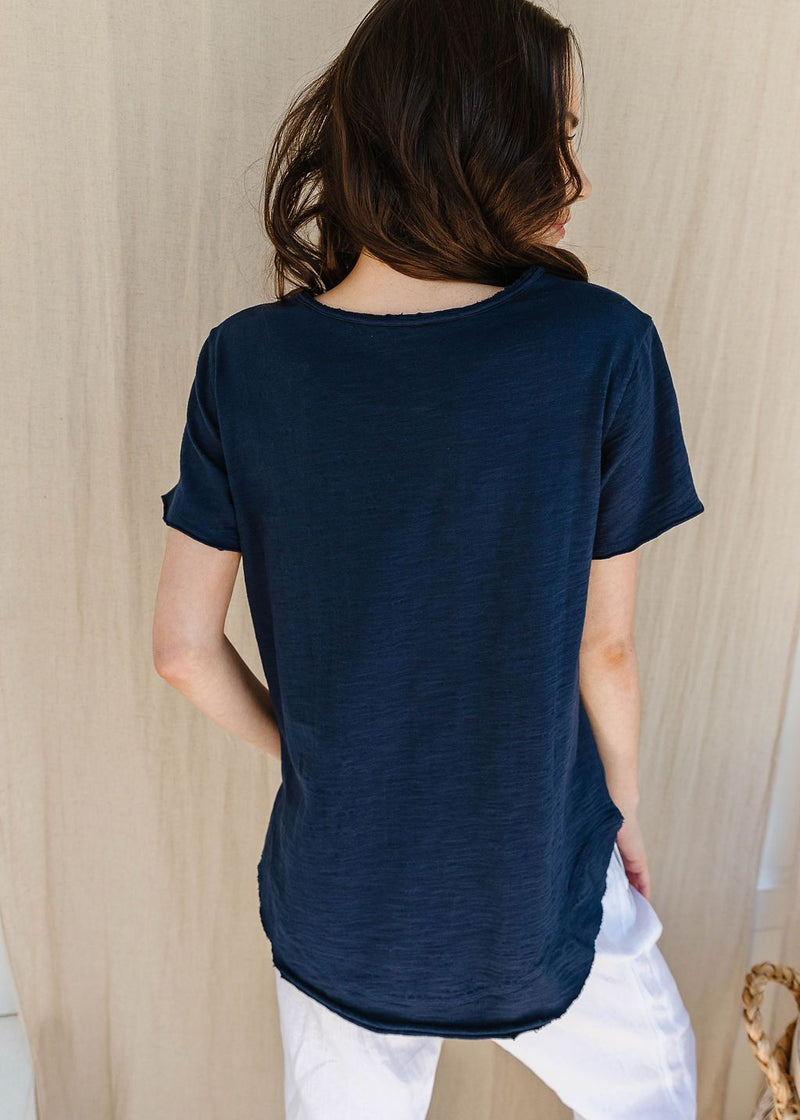 Navy 100% Cotton Raw Edge Crew Neck Tee Shirt