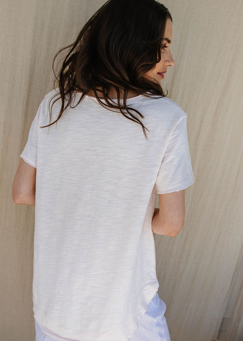 Pale Pink 100% Cotton Raw Edge Crew Neck Tee Shirt