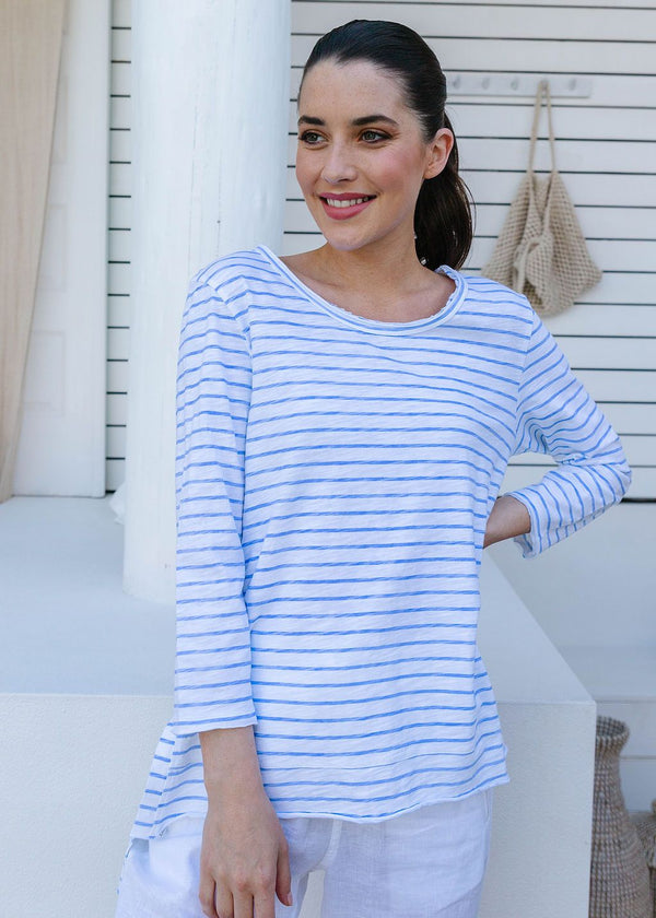 White / Jacaranda 100% Cotton Stripe 3/4 Sleeve Tee Shirt
