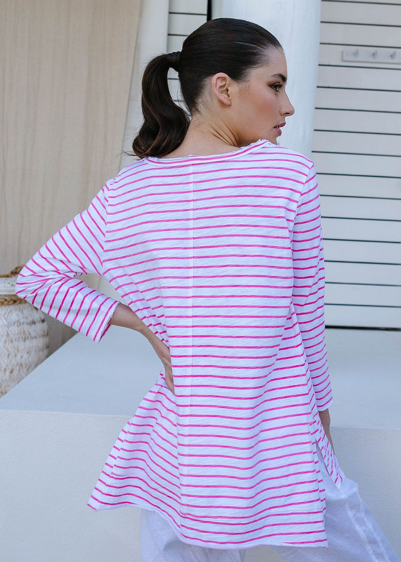 White / Rose Pink 100% Cotton Stripe 3/4 Sleeve Tee Shirt
