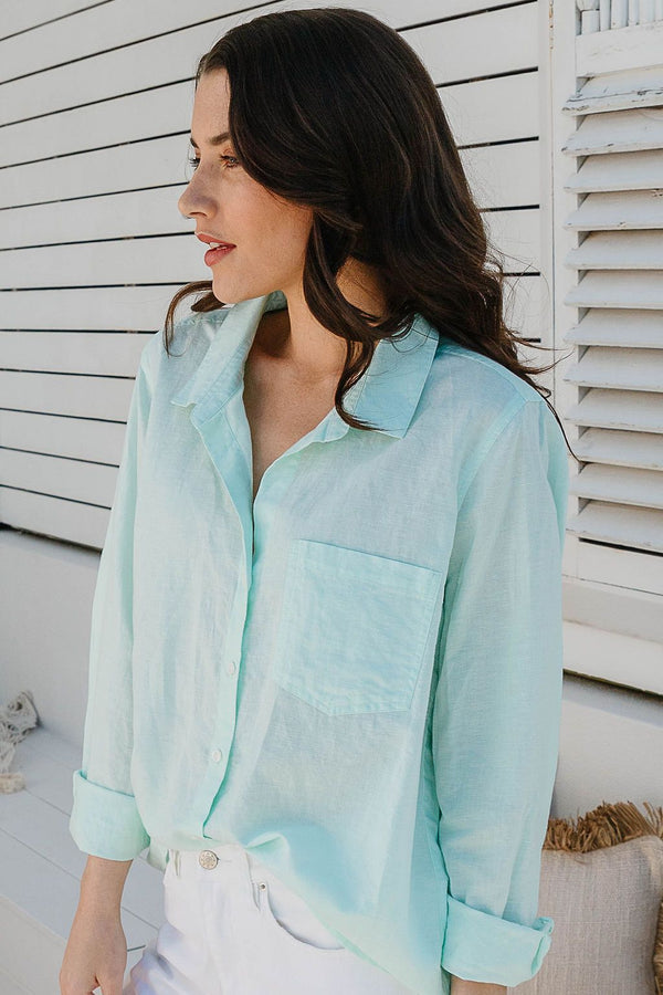 Mint 55% Linen 45% Cotton Shirt with Pocket