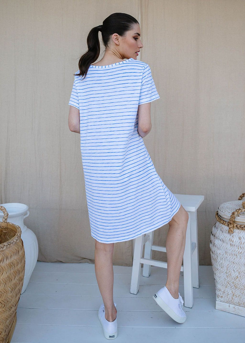 White / Jacaranda 100% Cotton Stripe Tee Shirt Dress