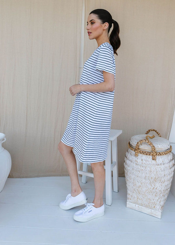 White / Navy 100% Cotton Stripe Tee Shirt Dress
