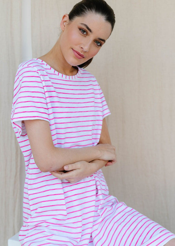 White / Rose Pink 100% Cotton Stripe Tee Shirt Dress
