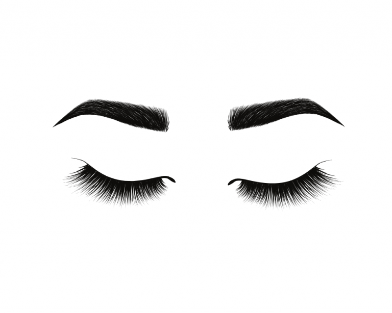 graphic of eyebrows and eyelashes